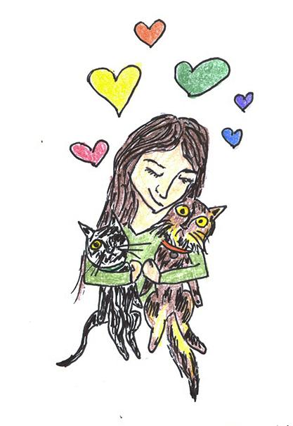 me loving my dingbat cats